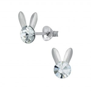 Wholesale Silver Rabbit Crystal Stud Earrings