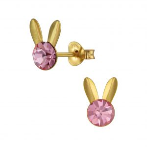 Wholesale Silver Rabbit Crystal Stud Earrings