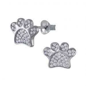Wholesale Silver Paw Print Cubic Zirconia Stud Earrings