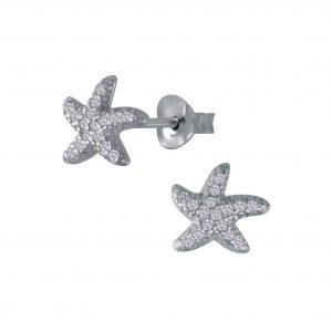 Wholesale Silver Starfish Cubic Zirconia Stud Earrings