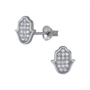 Wholesale Silver Hamsa Cubic Zirconia Stud Earrings