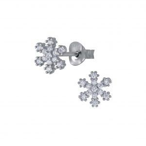 Wholesale Silver Snowflake Cubic Zirconia Stud Earrings