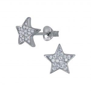 Wholesale Silver Star Cubic Zirconia Stud Earrings