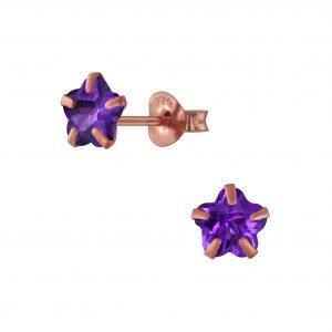 Wholesale 6mm Flower Cubic Zirconia Sliver Stud Earrings