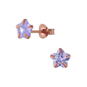 Wholesale 6mm Flower Cubic Zirconia Sliver Stud Earrings