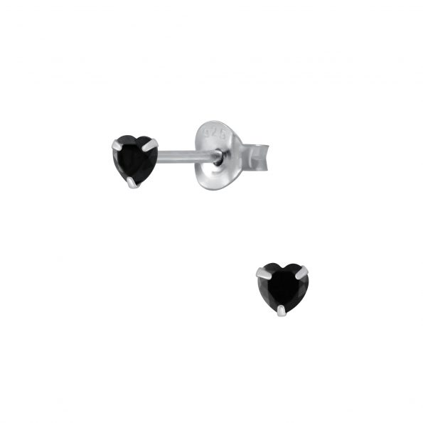 Wholesale 3mm Heart Cubic Zirconia Silver Stud Earrings
