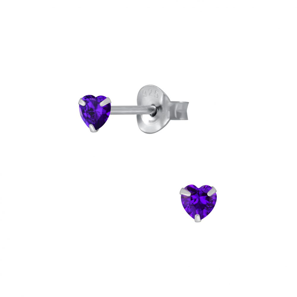 Wholesale 3mm Heart Cubic Zirconia Silver Stud Earrings