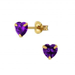 Wholesale 5mm Heart Cubic Zirconia Silver Stud Earrings