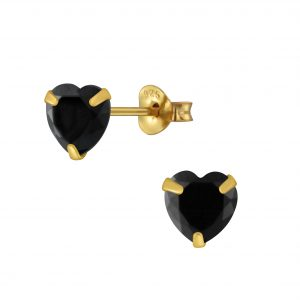 Wholesale 6mm Heart Cubic Zirconia Silver Stud Earrings