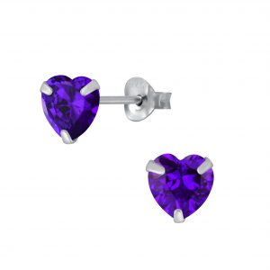 Wholesale 6mm Heart Cubic Zirconia Silver Stud Earrings