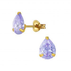 Wholesale 6x8mm Pear Cubic Zirconia Stud Earrings