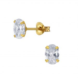 Wholesale 5x7mm Oval Cubic Zirconia Stud Earrings