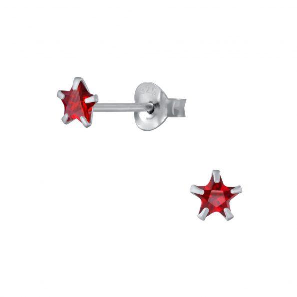 Wholesale 4mm Star Cubic Zirconia Silver Stud Earrings