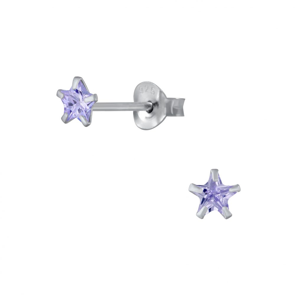 Wholesale 4mm Star Cubic Zirconia Silver Stud Earrings