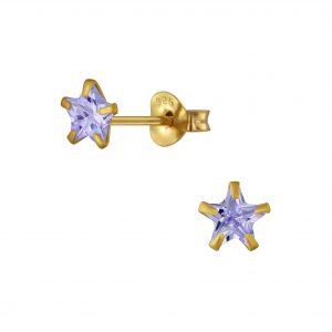 Wholesale 5mm Star Cubic Zirconia Sliver Stud Earrings