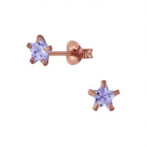 Wholesale 5mm Star Cubic Zirconia Sliver Stud Earrings