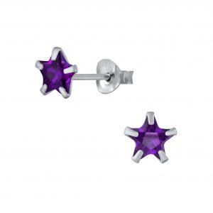 Wholesale 6mm Star Cubic Zirconia Silver Stud Earrings