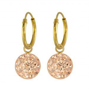 Wholesale Silver Round Crystal Charm Hoop Earrings