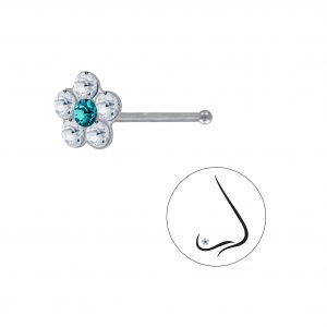 Wholesale Silver Flower Crystal Nose Stud With Ball