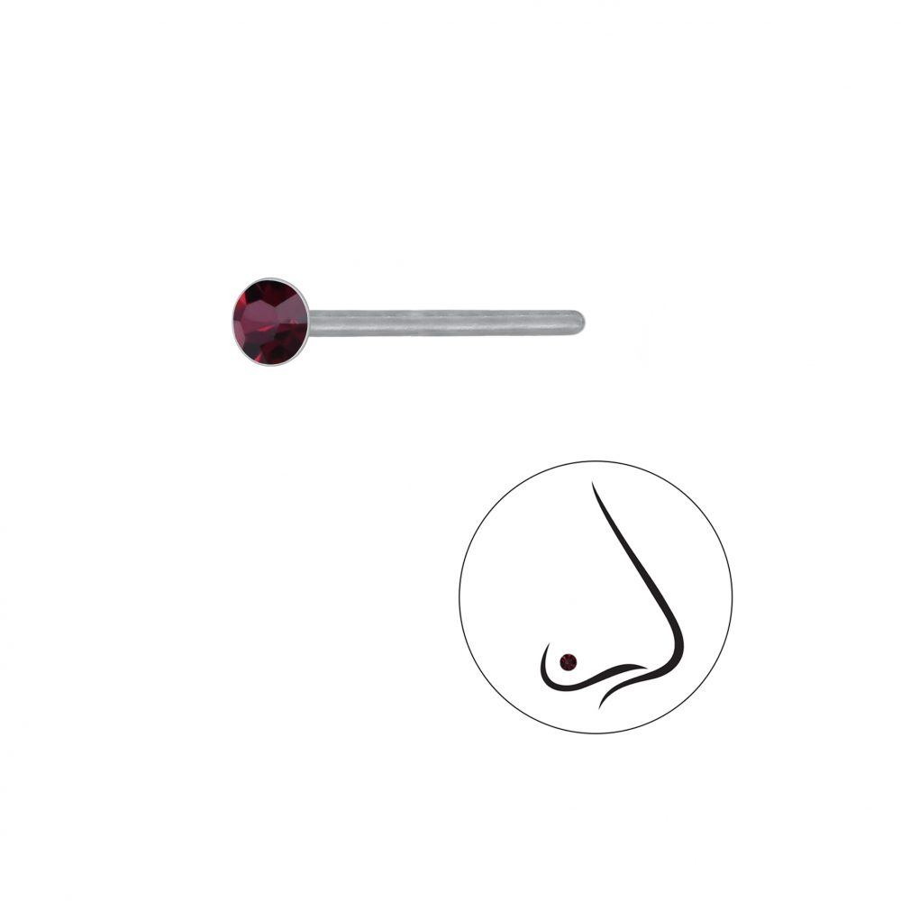 Wholesale 2.5mm Round Crystal Silver Nose Stud