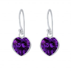 Wholesale 8mm Heart Cubic Ziconia Silver Earrings