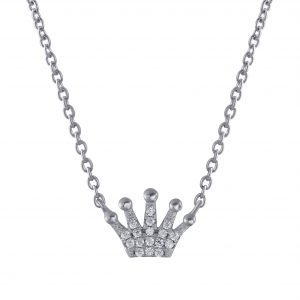 Wholesale Silver Crown Cubic Zirconia Necklace