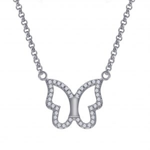 Wholesale Silver Butterfly Cubic Zirconia Necklace