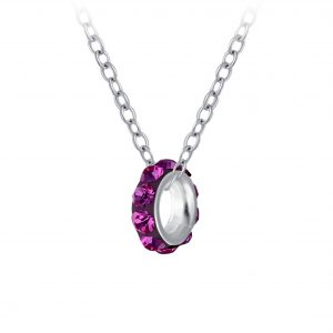 Wholesale Silver Crystal Doughnut Bead Necklace