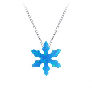 Wholesale Silver Snowflake Synthetic Opal Bead Neckalce