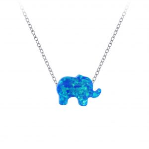 Wholesale Silver  Elephant Synthetic Opal Bead  Necklace