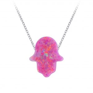 Wholesale Silver Hamsa Synthetic Opal Bead Necklace