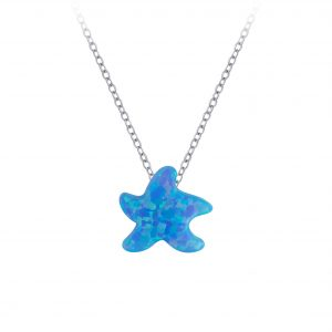Wholesale Silver Starfish Synthetic Opal Bead Necklace
