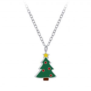 Wholesale Silver Christmas Tree Necklace