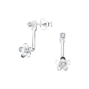 Wholesale Silver Flower Ear Jacket