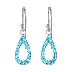 Wholesale Silver Tear Drop Crystal Earring