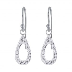 Wholesale Silver Tear Drop Crystal Earring