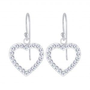 Wholesale Silver Heart Crystal Earrings