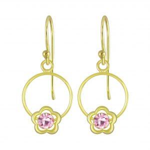Wholesale Silver Flower Wire Crystal Earrings
