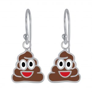Wholesale Silver Smiling Poo Earrings