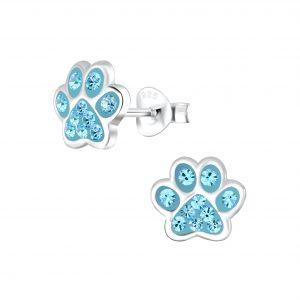 Wholesale Silver Paw Print Stud Earrings