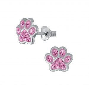 Wholesale Silver Paw Print Stud Earrings