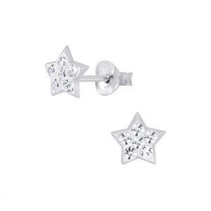 Wholesale Silver Star Crystal Stud Earrings