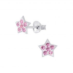 Wholesale Silver Star Crystal Stud Earrings