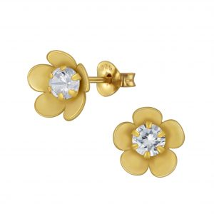 Wholesale Silver Flower Cubic Zirconia Stud Earrings