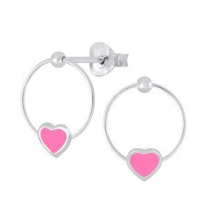 Wholesale Silver Heart Wire Stud Earrings