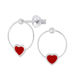 Wholesale Silver Heart Wire Stud Earrings