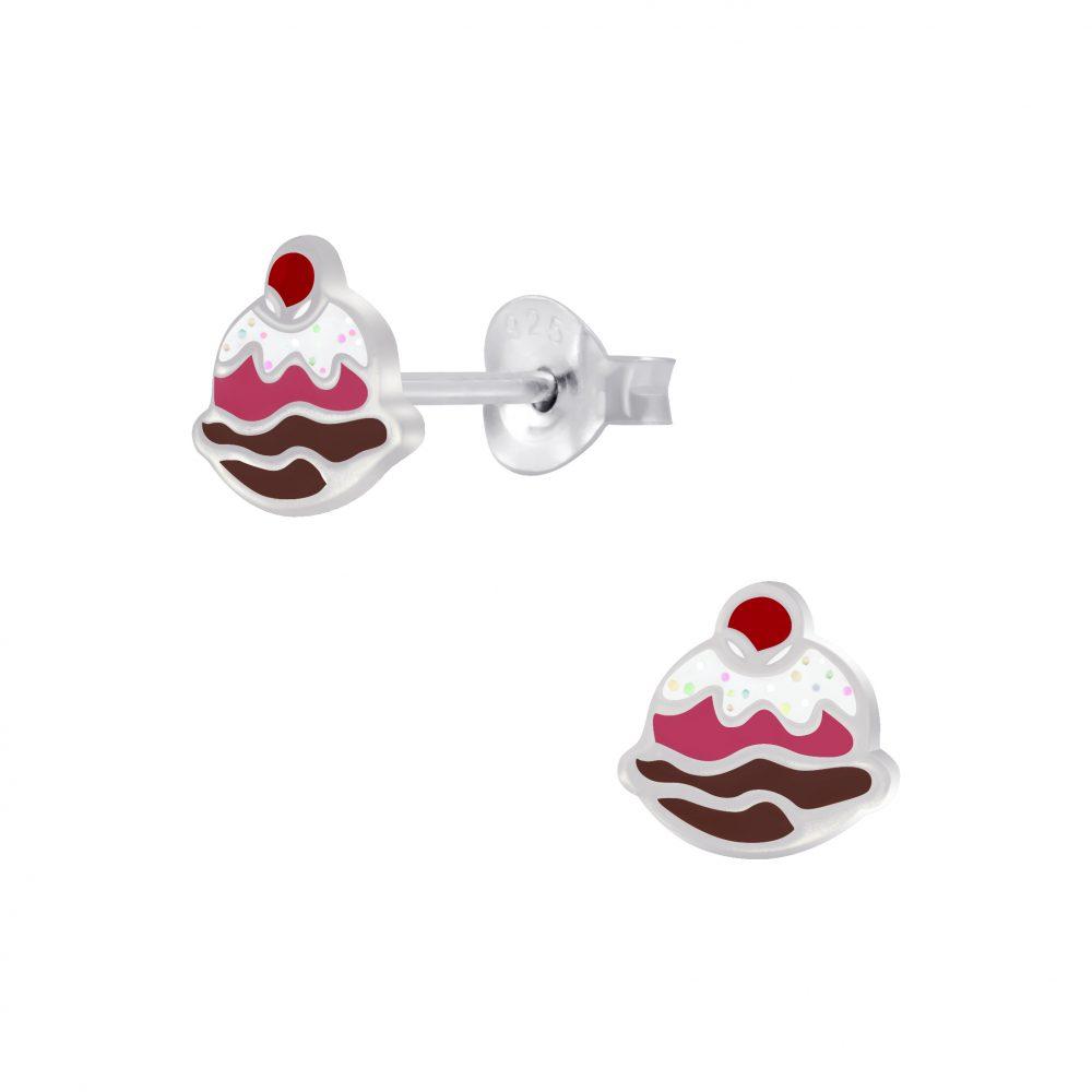 Wholesale Silver Ice-cream Sundae Stud Earrings
