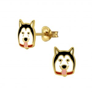 Wholesale Silver Dog Stud Earrings