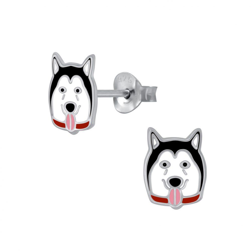 Wholesale Silver Husky Stud Earrings