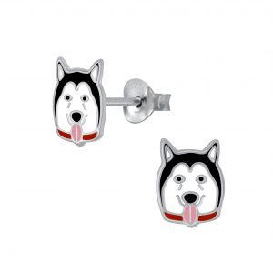 Wholesale Silver Husky Stud Earrings